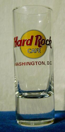 Hard Rock Cafe Tall Shot Glass Washington D.C red letters dc