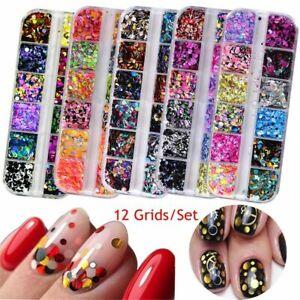 12-Grid-Nail-Art-Glitter-Sequin-Mixed-Mirror-Sugar-Peacock-Round-Flake-Decor