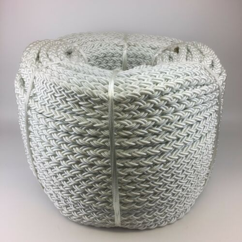 10mm 8 Strand White Nylon Rope x 220m, Anchor Mooring Rope Multiplait Octoplait