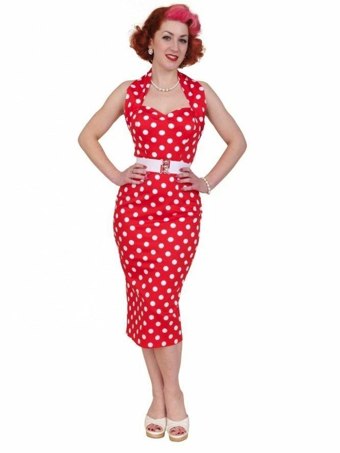 Vivien of Holloway rot Polka Dot Halterneck Pencil Dress - Größe 12