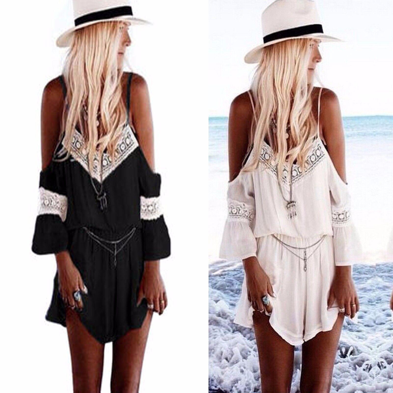 UK Womens Holiday Mini Playsuit Ladies Jumpsuit Summer Beach Shorts Mini Dress