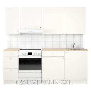 Kuchenzeile kuche kuchenblock 220 cm breit weiss mit for Küchenzeile 180 cm breit