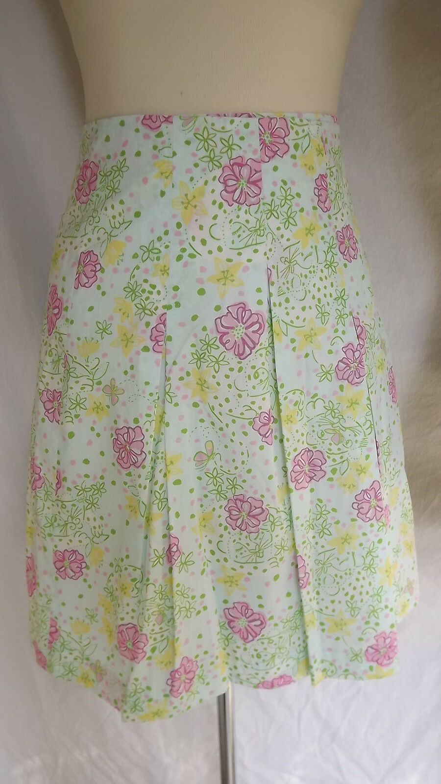 Sz 8 Lilly Pulitzer Pleated Wrap Skirt Leopard & Floral Print Cotton