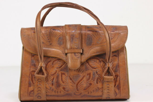 Tooled Leather Vintage Purse Handbag Made In Mexico Short Handles