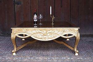Très Grande Table Basse Salon 120x120cm En Bois Massif Doré à La