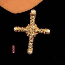 Broche Grosse Croix Doré Perle Blanc Baroque Vintage Original Mariage XZ4