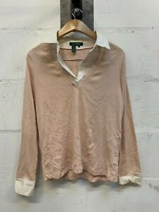 Women-039-s-Lauren-Ralph-Lauren-Vintage-Pink-Jumper-With-Shirt-amp-Collar-Sz-Medium-M