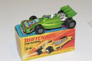 Vintage-Lesney-Matchbox-Superfast-N-24-B-equipo-Matchbox-Coche-de-Carreras-034-8-034-Raro-GRN