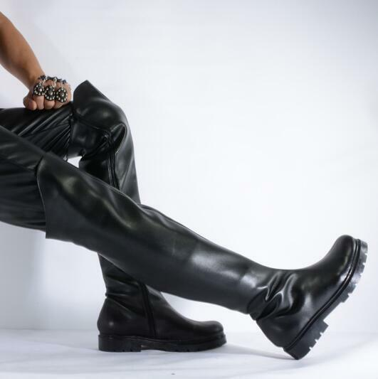 Mens Leather Black Round Toe Over Knee Riding Boots Dance Cosplay Shoes HOT E840