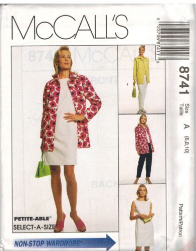 8741 UNCUT McCalls SEWING Pattern Misses Jacket Dress Top Pull on Pants OOP SEW