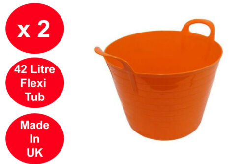 2 X 42 LITRE FLEXI TUB LARGE GARDEN CONTAINER FLEXIBLE STORAGE BUCKET ORANGE
