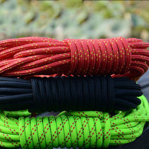 26FT//8M 6mm 4Cord Climb Rope Rock Lanyard Auxiliary Mountain Rope Strand