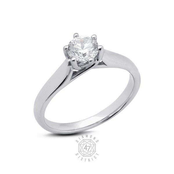 0.52ct. H-SI1 V.Good Cut Round AGI Certified Diamond 14K gold Trellis Ring 3.43g