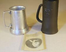 Vintage 1970s Playboy Club Bunny Logo Black Heavy Glass Stein Beer Mug-Sticker
