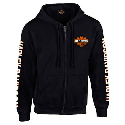 Harley-Davidson Men's Hooded Sweatshirt, Bar & Shield Zip Black Hoodie 30299142