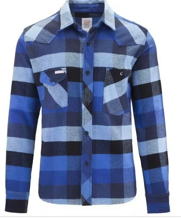 NEW Topo Designs Work Shirt Heavyweight Woherren Flannel Blau Plaid S
