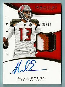 MIKE-EVANS-2015-PANINI-IMMACULATE-3-COLOR-PATCH-SIGNATURE-AUTOGRAPH-AUTO-99