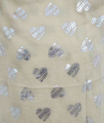 Women Love Heart Scarf Silver Metallic Hearts Mother/'s Day Friend Gift Scarves