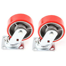 2 Red Wheel Caster Set 5 Wheels All Swivel Heavy Duty Iron Hub No Mark Casters
