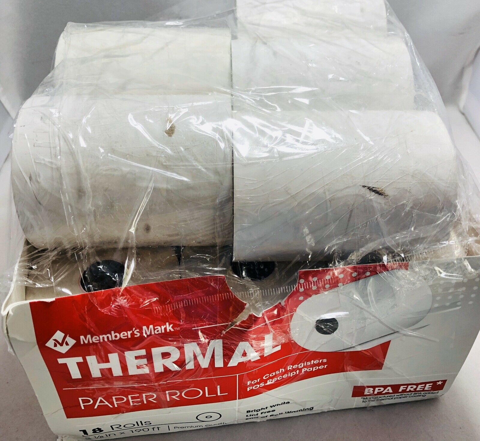 "3 1//8/"" X 190/' 18 Rolls Member/'s Mark Thermal Receipt Paper Rolls"