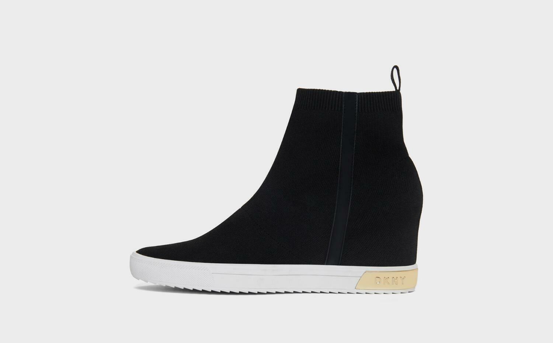 DKNY Women High Top Slip on, Cali Wedge Sneaker Sz. 9 Brand New Black Gold