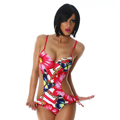 Monokini Badeanzug 40 Einteiler rot blau Muster bunt hinten wie Bikini Damen