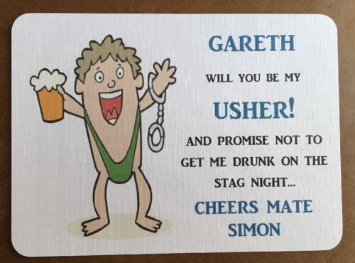BESTMAN Wedding Card Funny Will You Be My Usher Stag Night Personalised Gift