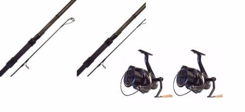 2 Vader X Reels 2 X Sonik Vader X Carp Rods 12ft 3.5lb Fishing 50mm Butt