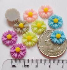 Resin Daisy Flower Cabochon Pkg. of 10 Dainty 13mm Embellishment Asst. Colors
