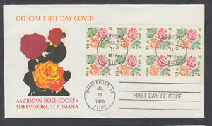 US-Pl-1737a-B-FDC-1978-15c-Rose-booklet-pane-of-8-American-Rose-Society-FIRST