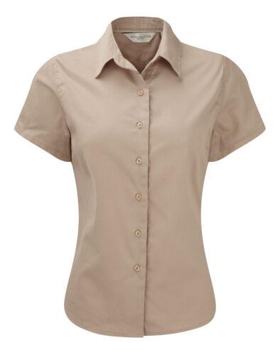Twill Di Blu Cotone Donne Camicetta Manica Corta Grigio Camicia Beige Bianco 1UnwHCqY