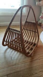 Vintage-Mid-Century-Wicker-Modern-retro-atomic-Magazine-Rack-Holder-Basket-Decor
