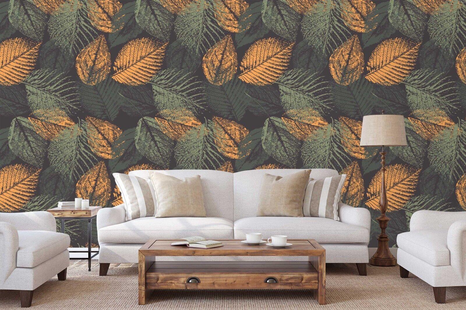 3D Green orange Leaf 78 Wallpaper Mural Paper Wall Print Indoor Murals CA Summer