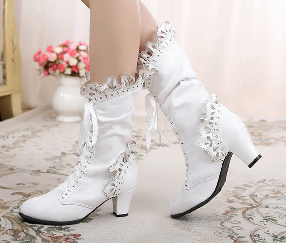 Womens Ankle Boots Lolita Lace Lace Lace FRILLS Bow Suede Leather High Heel Lace Up shoes 278ab7