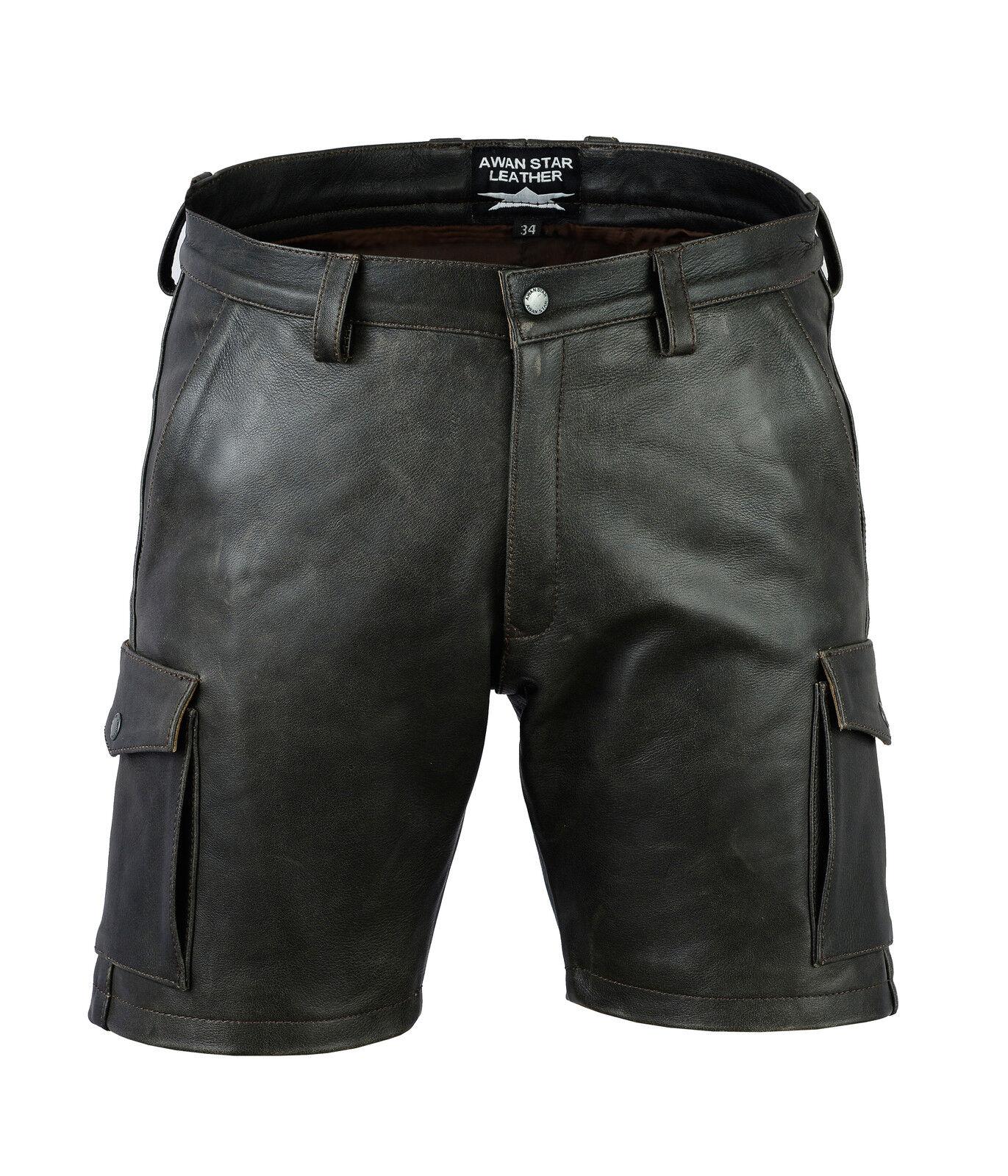 Awanstar Cargo leder shorts Ledershorts Farbe Antik,Leder Shorts,kurze lederhose | Trendy