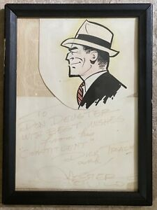 Dick Tracy Comic Art Original Signed by Chester Gould
