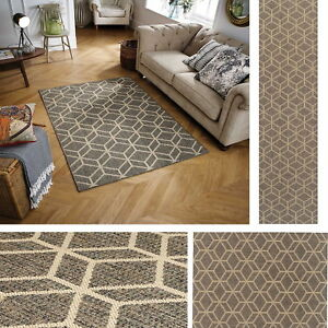 Details about Moda Geo Flatweave Utility Mats Kitchen Rugs Hall Runners  Grey Anti Slip Gel