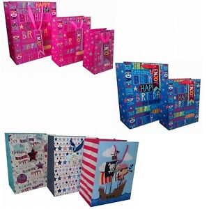 Image Is Loading Kids Girls Boys Happy Birthday Gift Wrapping Bags