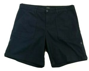 Jones NY Womens Navy Blue Utility Shorts Size 16 Bermuda Adjustable Stretch