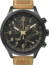 Timex Intelligent Quartz T2N700 Mens Black Tan Fly-Back Chronograph Watch