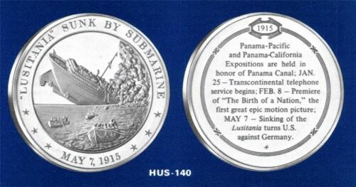 """1915 /""""LUSITANIA/"""" Sunk by German Submarine FRANKLIN SOLID BRONZE Medal"""