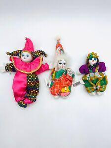 Vintage-Clowns-Porcelain-Face-Plush-Beanie-Bodies-Collectibles-Scary