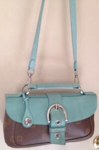 Texier-Brown-Leather-W-turquoise-Suede-Front-Flap-Shoulder-Bag