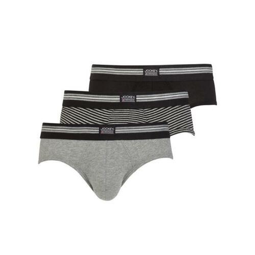 3er Pack Herren Jockey Brief Slip black grey stripes in M L XL XXL NEU
