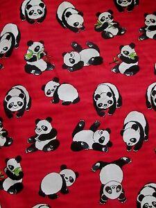 BTY PANDA BEAR Fabric HOFFMAN Screen Print BAMBOO Sewing COTTON Red
