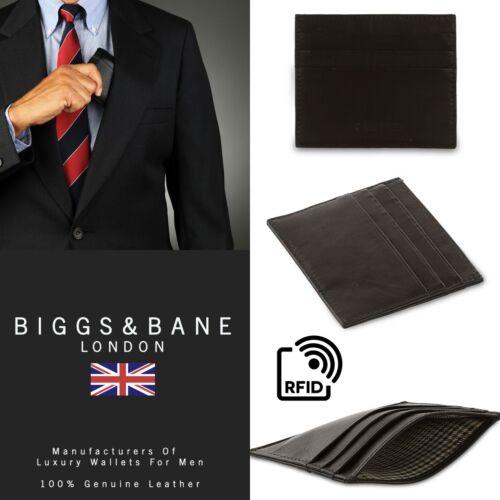 Nouveau Luxe RFID Hommes Noir Véritable Cuir Souple Slim Credit Card Holder