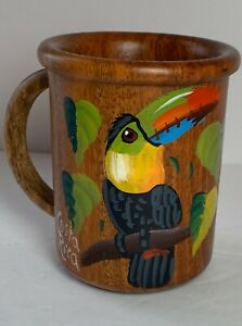 Shot Glass; Hand Painted Hummingbird Design Maybe a Pencil Cup? Vintage Costa Rica Wood Cup