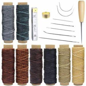 18-Pieces-En-Cuir-Artisanat-Outils-Avec-Aiguilles-A-Coudre-A-La-Main-De-Per-W5S1