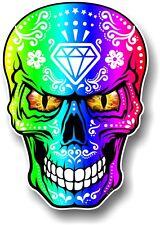 Realistic Mexican Sugar Skull Multi Colour & Evil Eyes car bike sticker Decal
