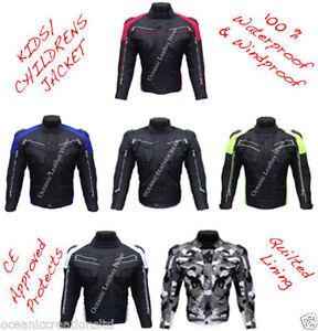 Ninos-Impermeable-CE-Blindado-Motocicleta-Moto-Cordura-Carreras-Chaqueta-SP